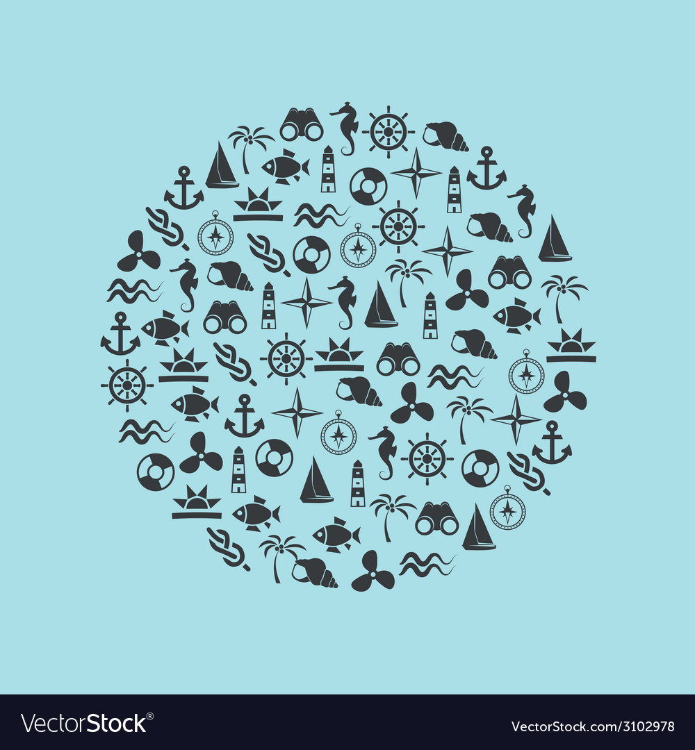 Marine icons in circle vector