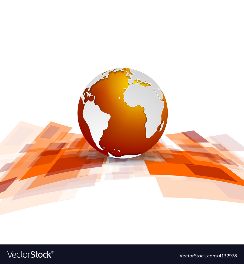 Shiny motion tech background with globe vector