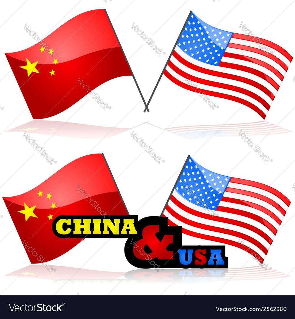 China and the usa vector
