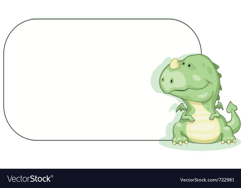 Cartoon dragon with copy space vector