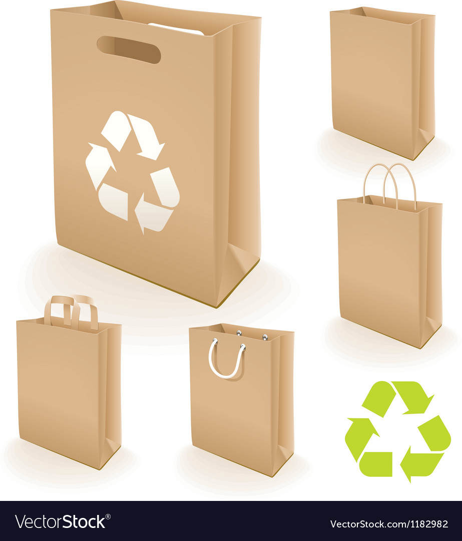Recycling paper bag vector