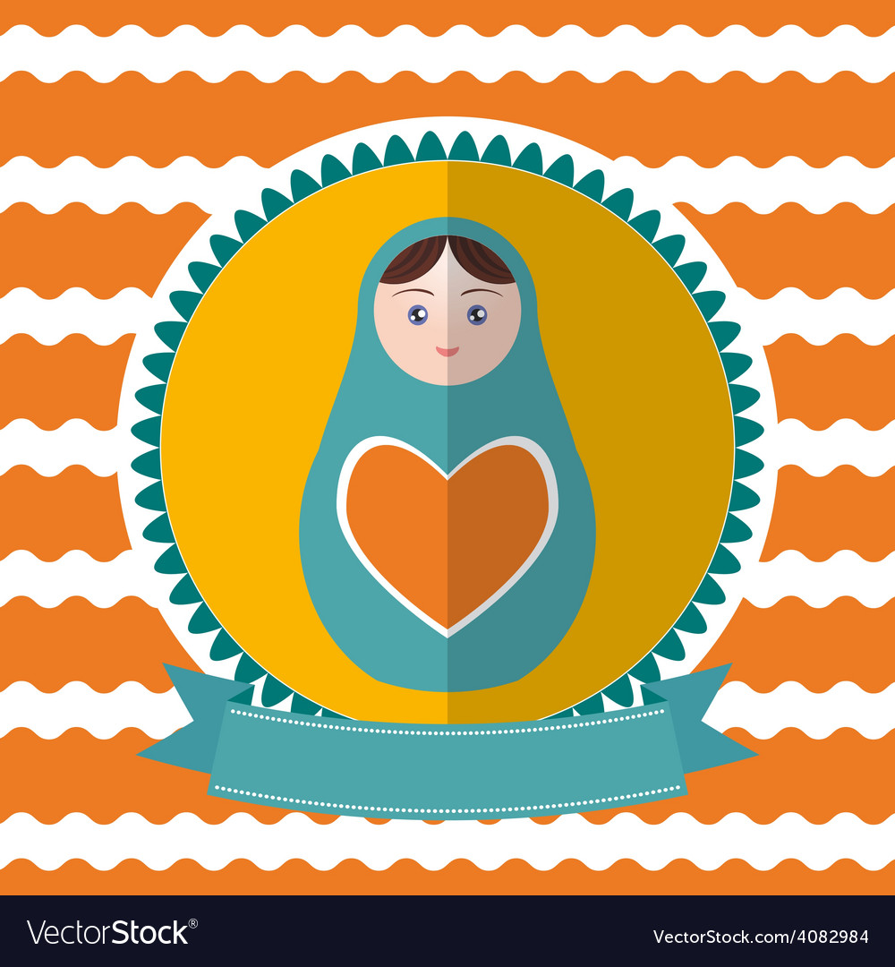 Matryoshka vintage card design green and orange vector