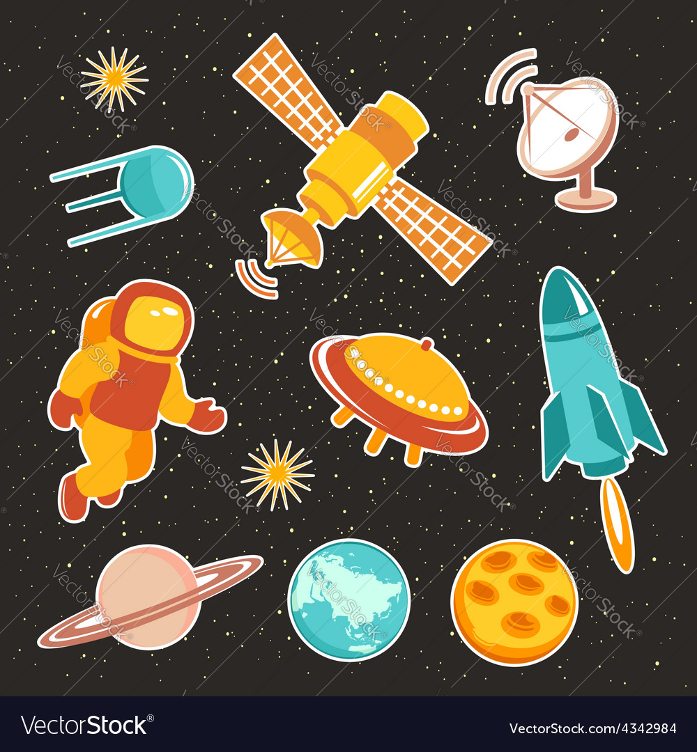 Space ship icons with planets rocket and astronaut vector