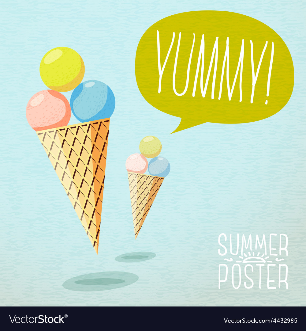 Cute summer poster - cones with yummy ice-cream vector