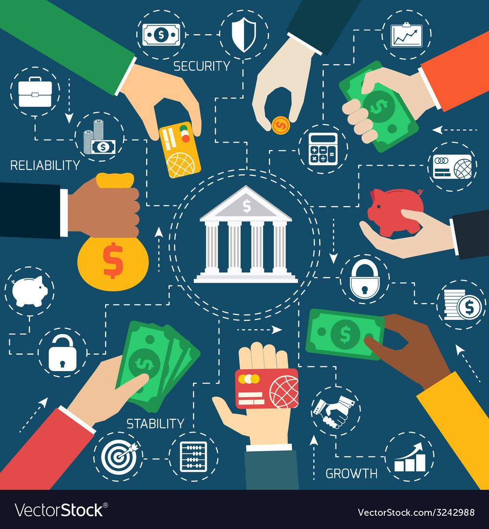 Business hands financial flowchart vector