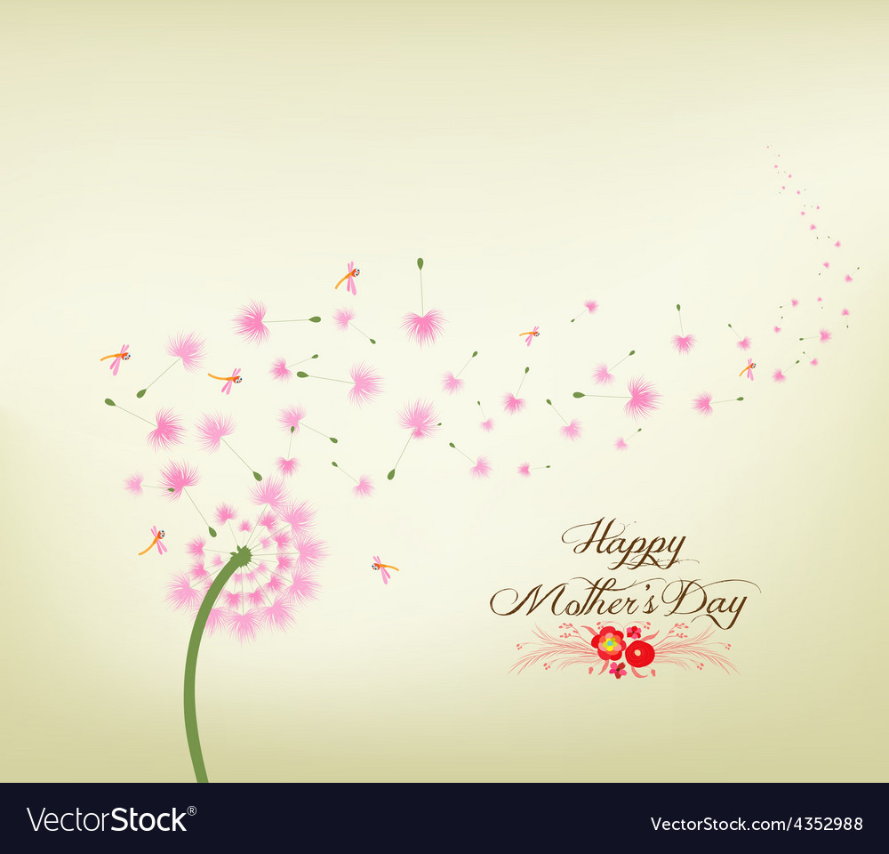 Mothers day blossom dandelions vintage vector