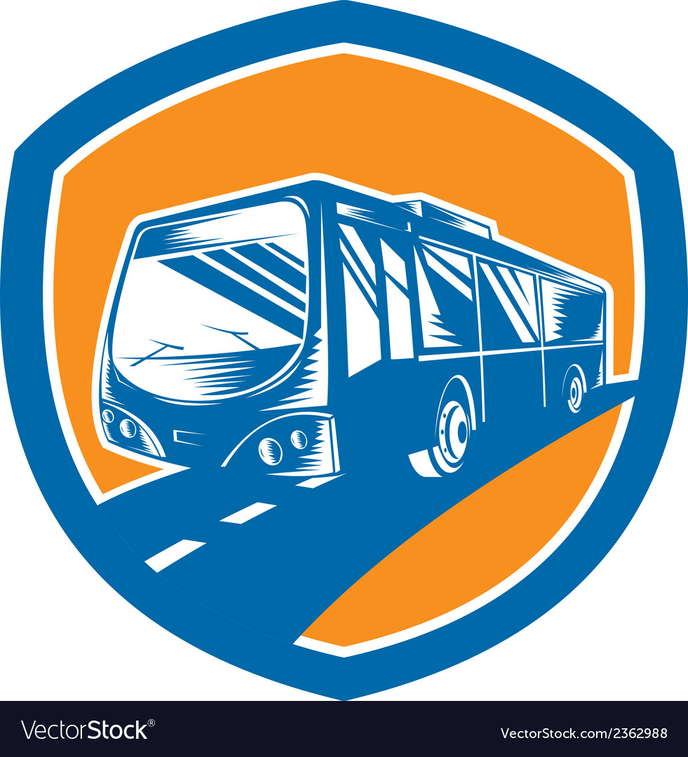 Tourist coach shuttle bus shield woodcut vector