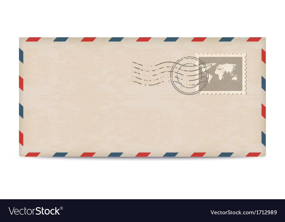 Old postage envelope with stamps vector