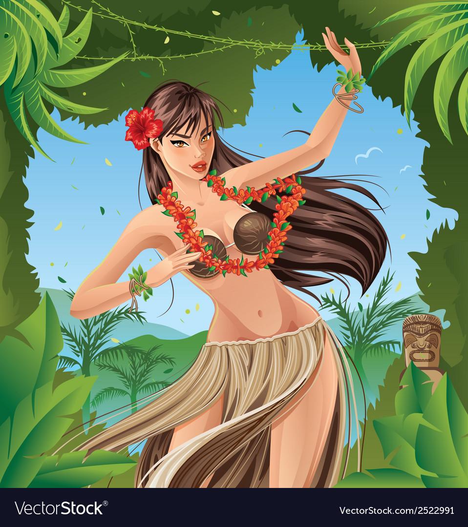 Hula dancer vector