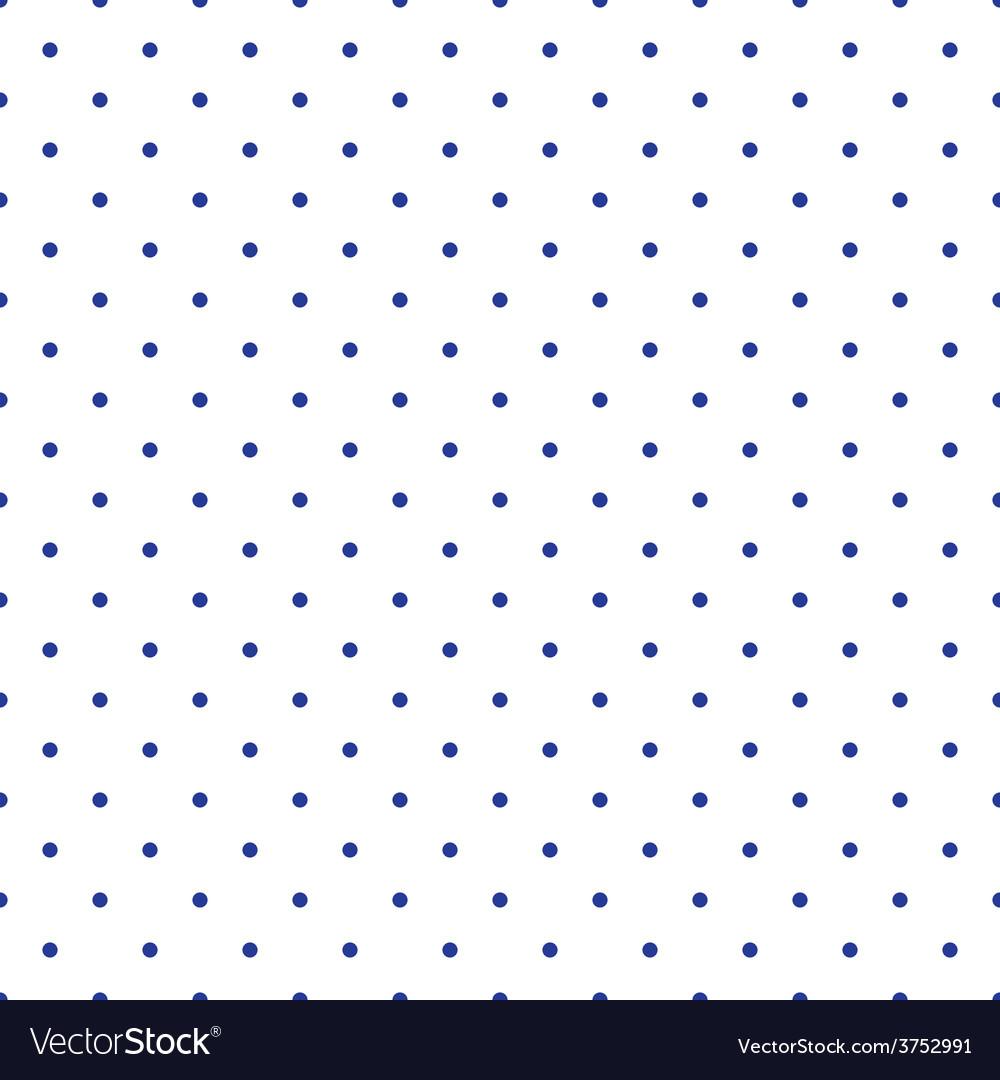 Tile pattern blue polka dots on white background vector