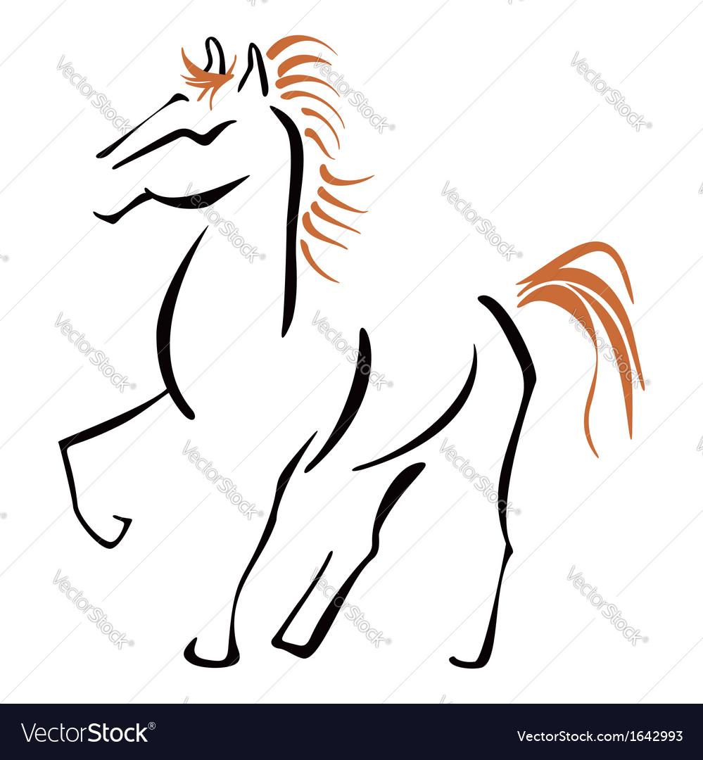 Stallion at sketch vector