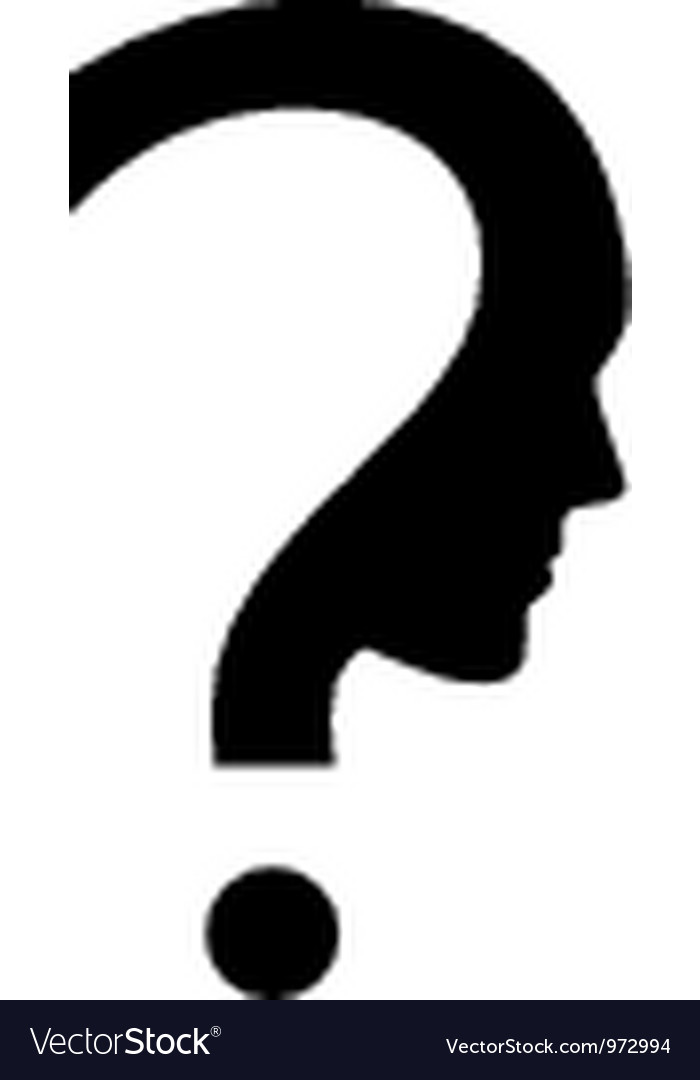 Question mark with face vector