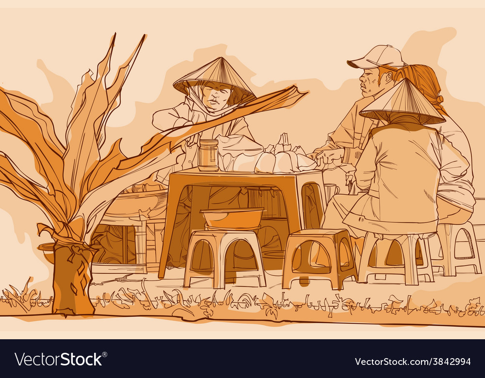 Vietnamese lunch on the street drawing in graphic vector
