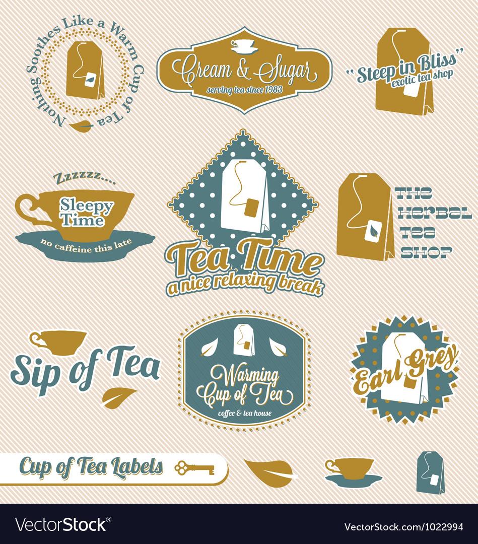 Vintage tea time labels vector