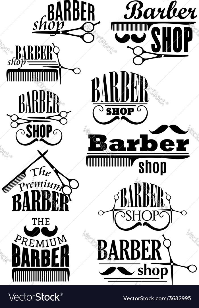 Black vintage barber shop logo and emblems vector