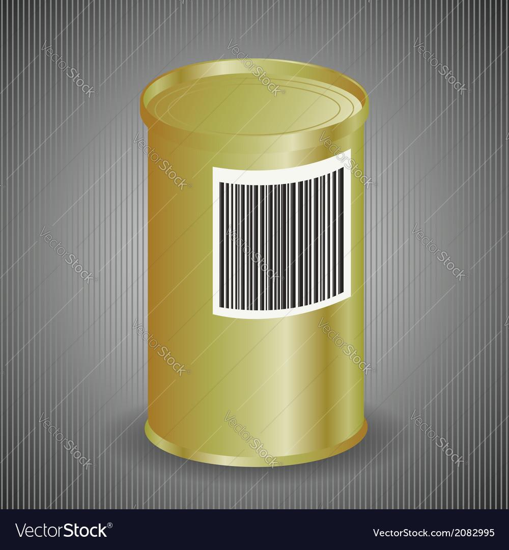 Yellow metal tin can vector