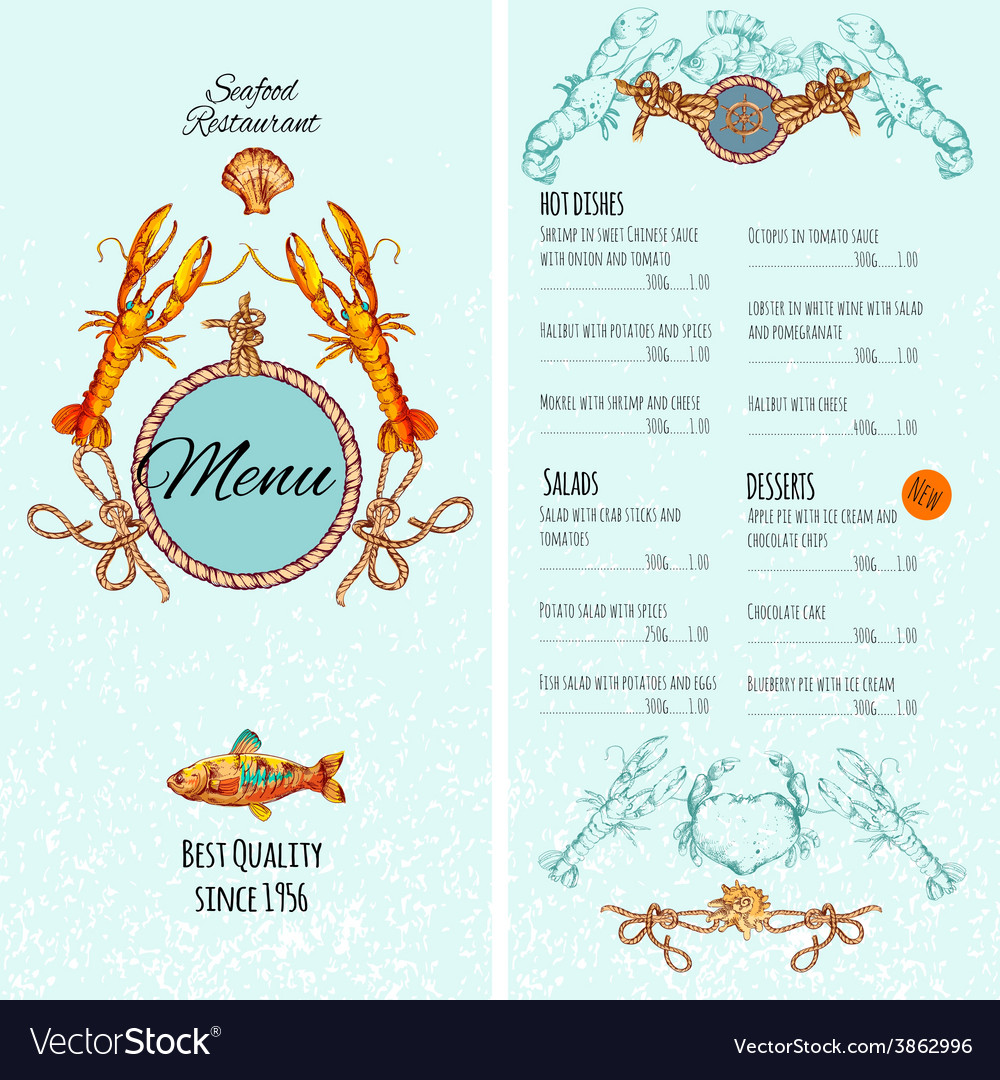 Seafood menu template vector