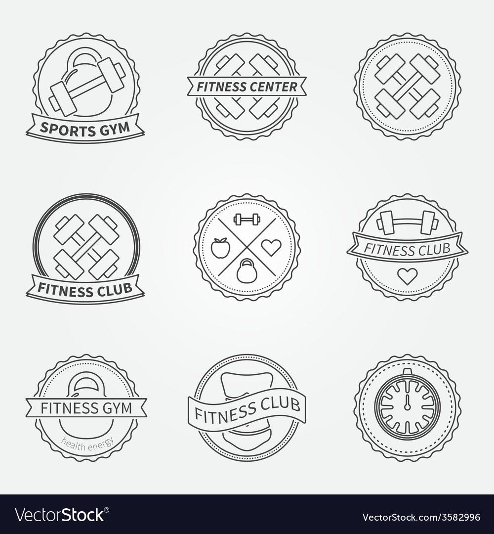 Sports and fitness logo emblem graphics set vector