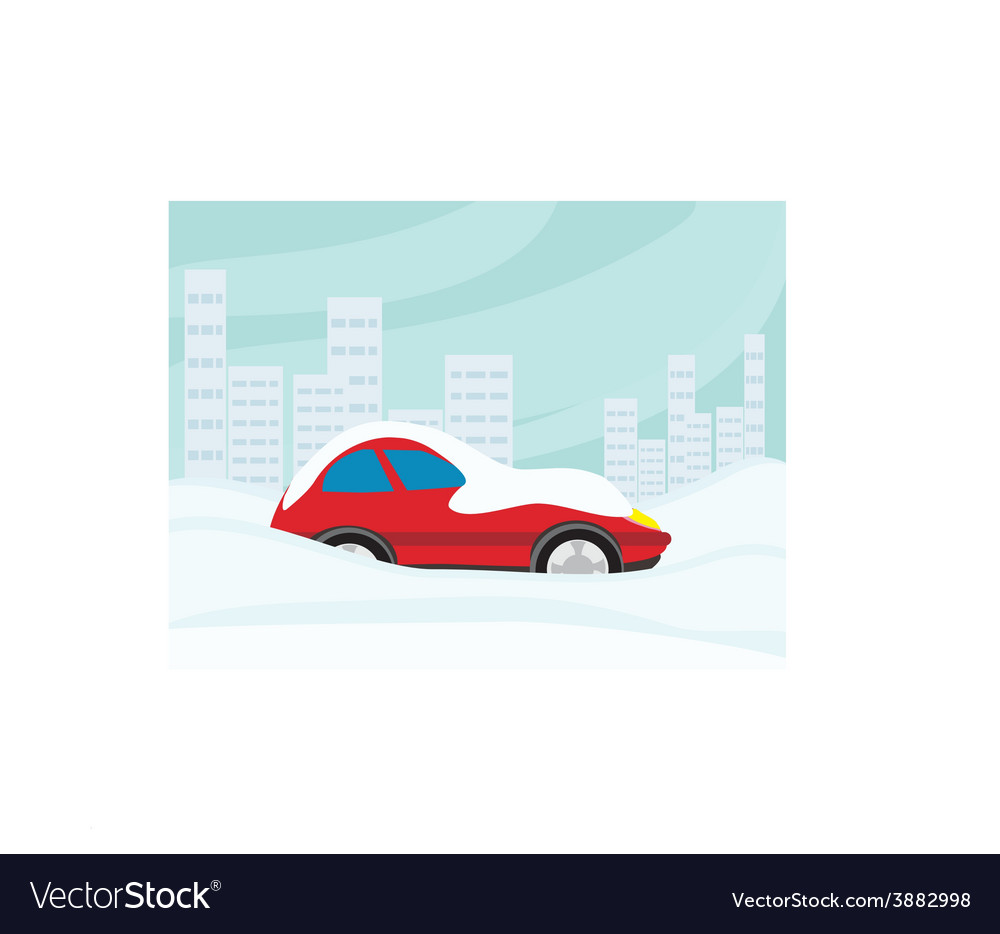 Car stuck in the snow vector
