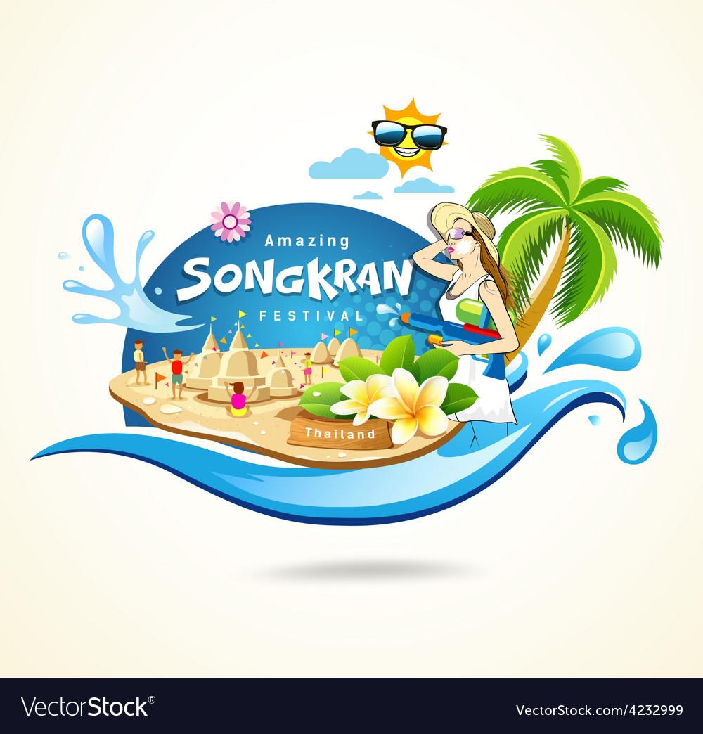 Amazing songkran festival in thailand vector