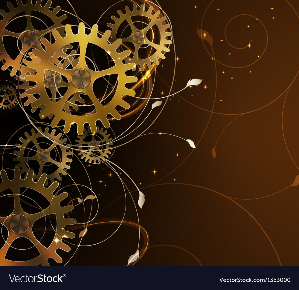 Abstract mechanical background with floral element vector