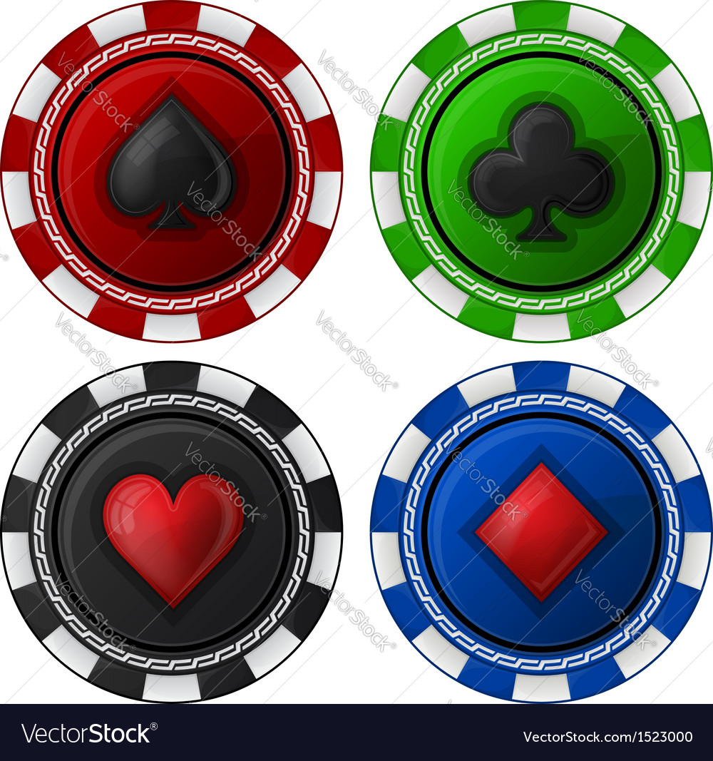 Cards chips poker with card suit vector