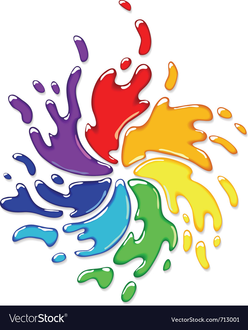 Rainbow paint splash vector