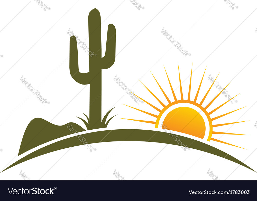Desert design elements with sun vector