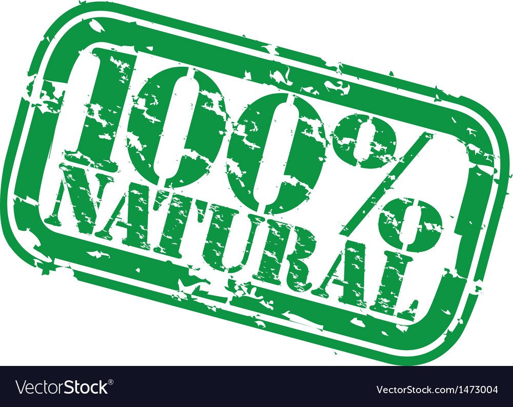 Grunge 100 percent natural rubber stamp vector