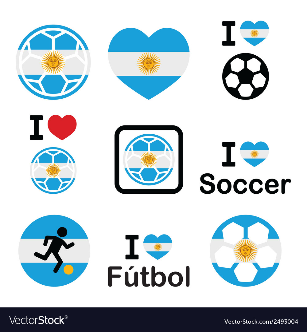 I love argentine football soccer icons set vector