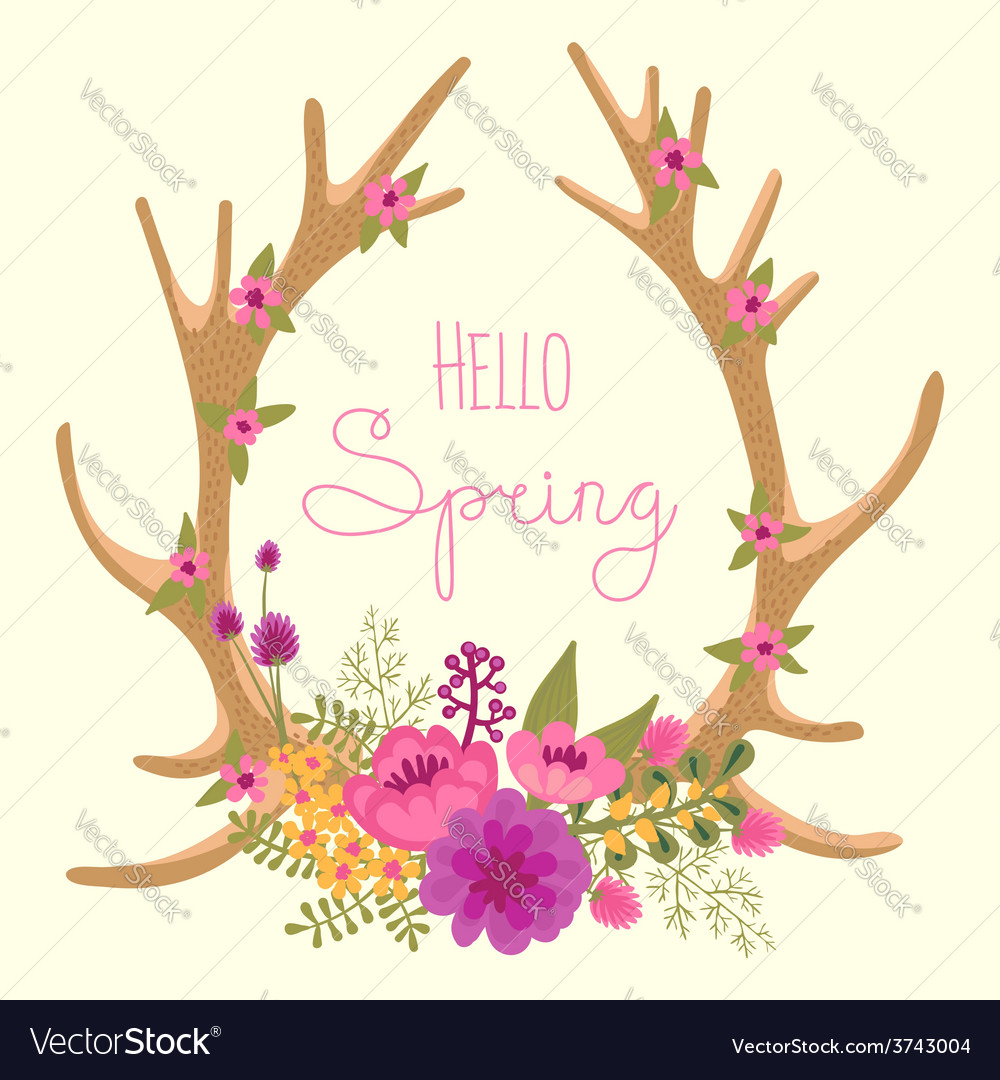 Vintage card with deer antlers and flowers vector