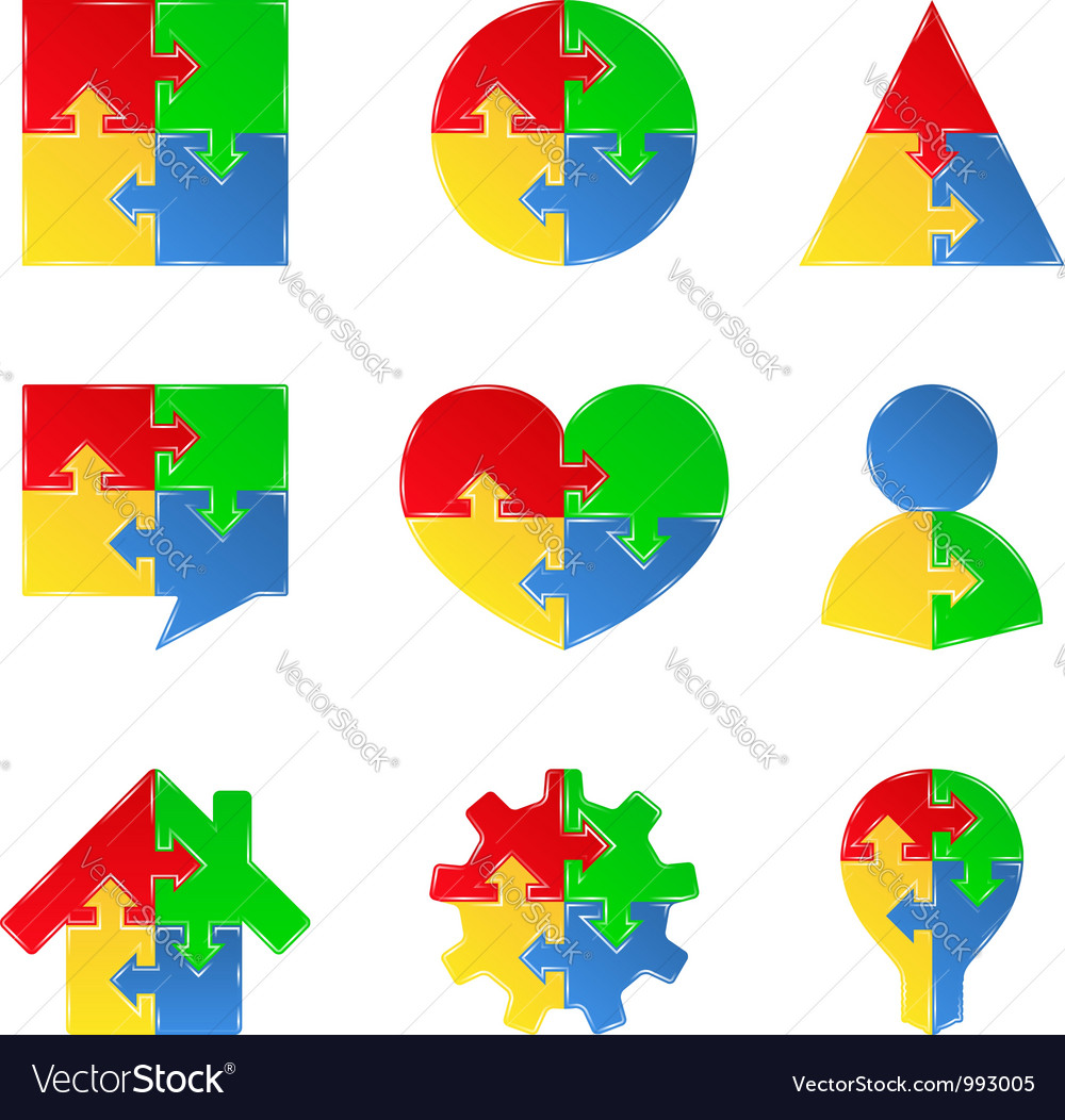 Puzzle objects with arrows vector