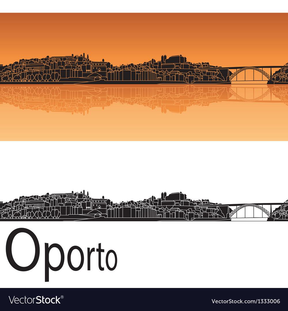 Oporto skyline in orange background vector