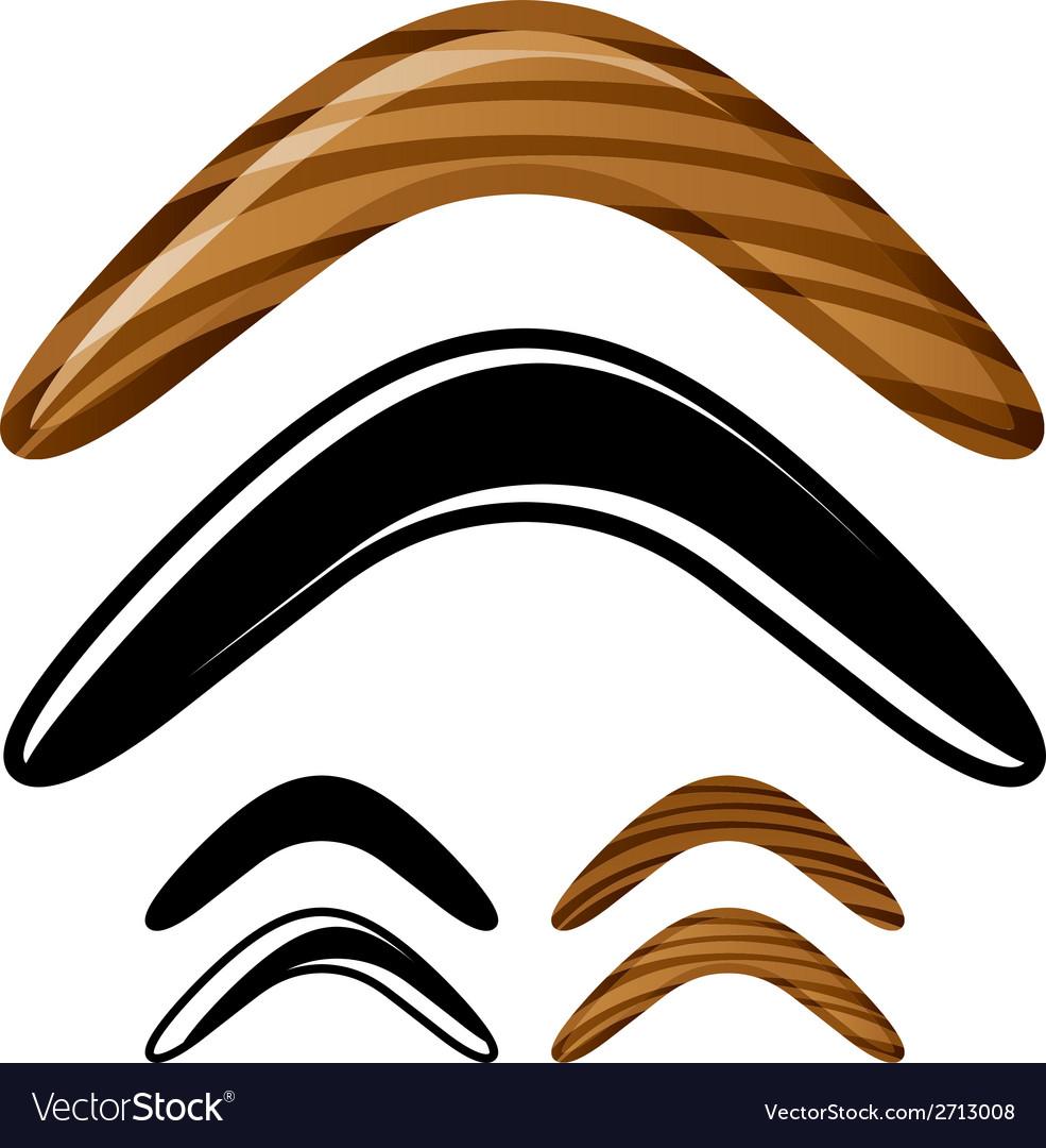 Wooden australian boomerang icons vector