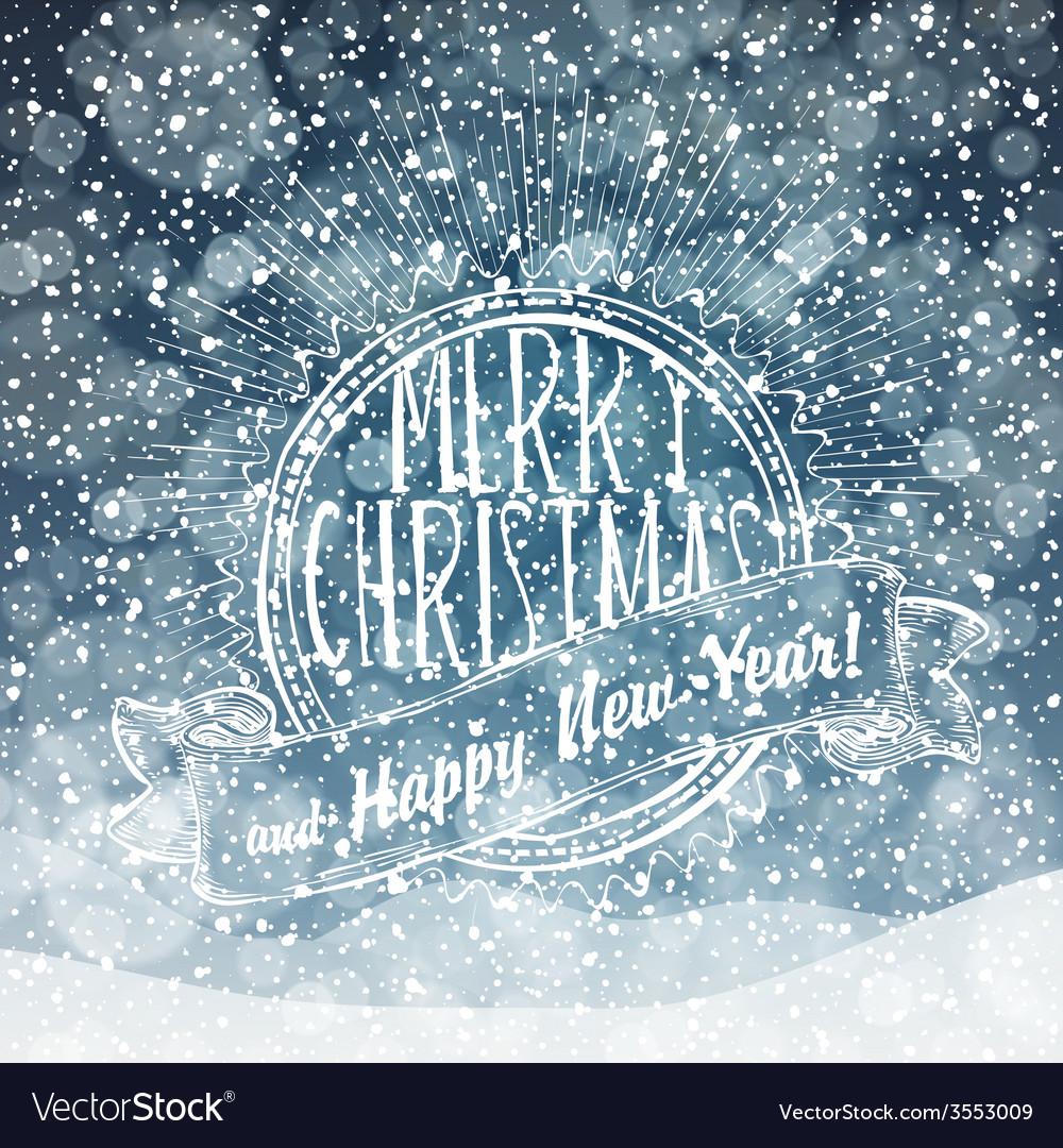 Merry christmas card with snow texture vector