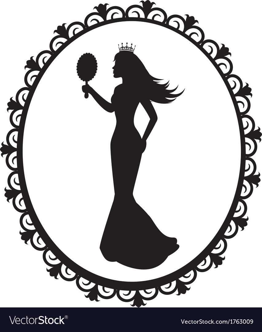 Princess silhouette in the decorative frame vector