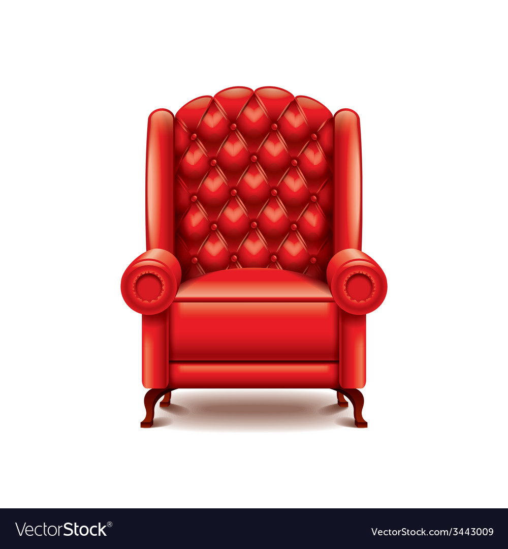 Red armchair isolated vector