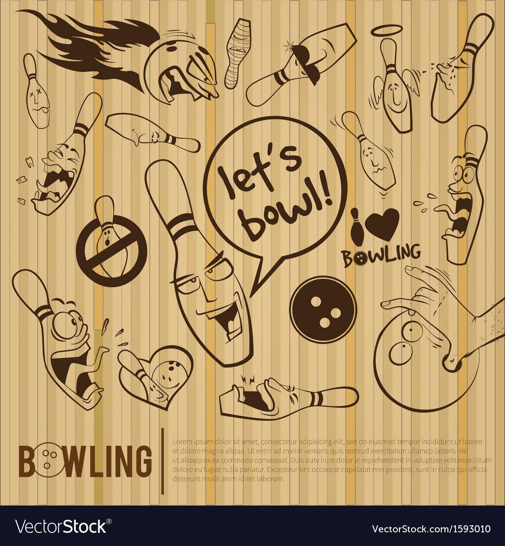 Cartoon bowling set bowling alley vector