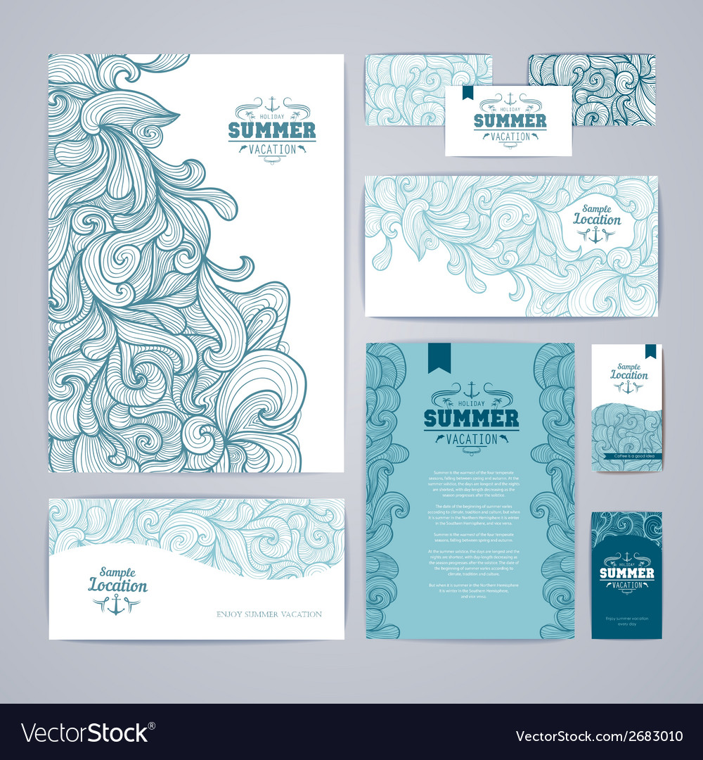 Corporate identity design ocean summer decorative vector