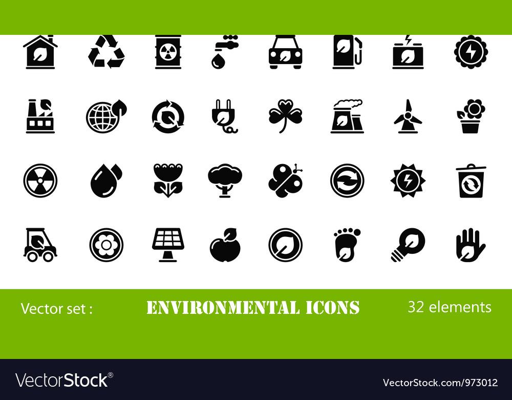 32 environmental icons vector