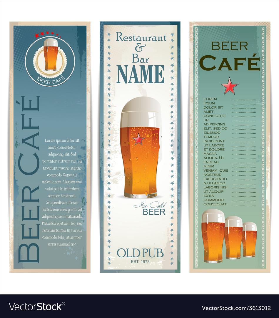 Beer cafe design template vector