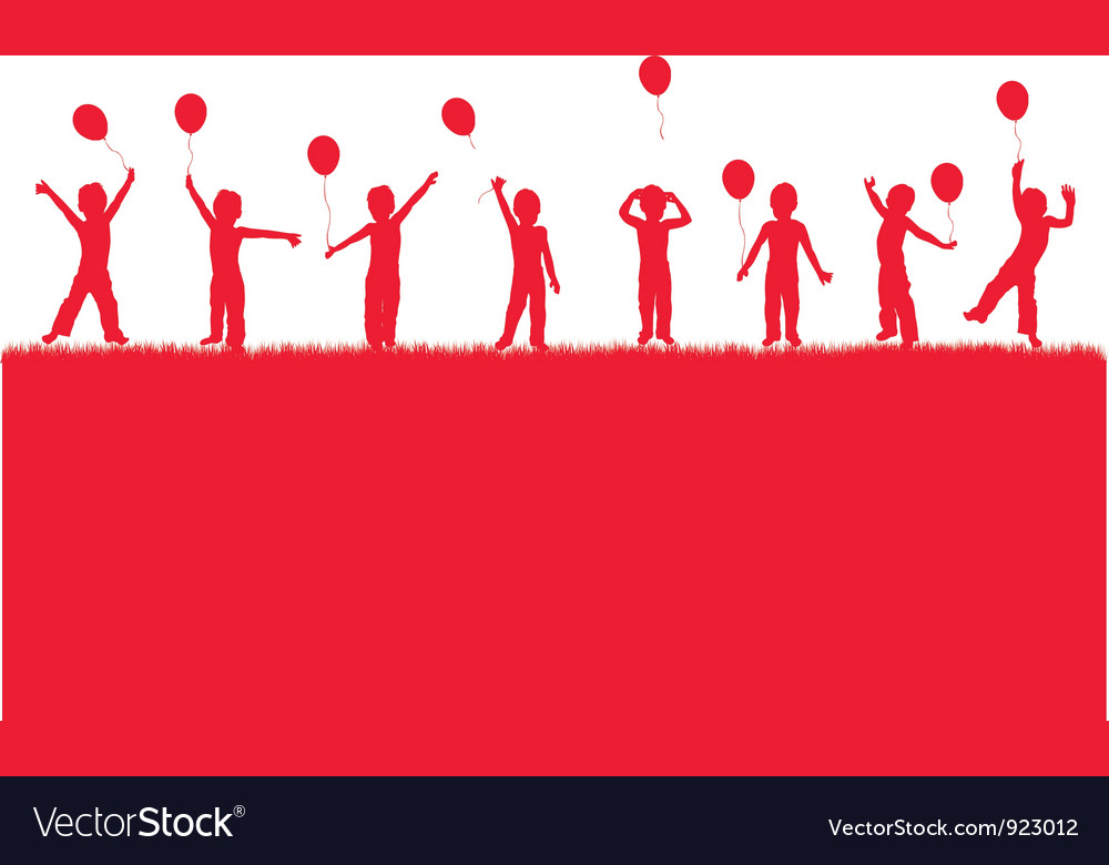 Children playing with balloons vector