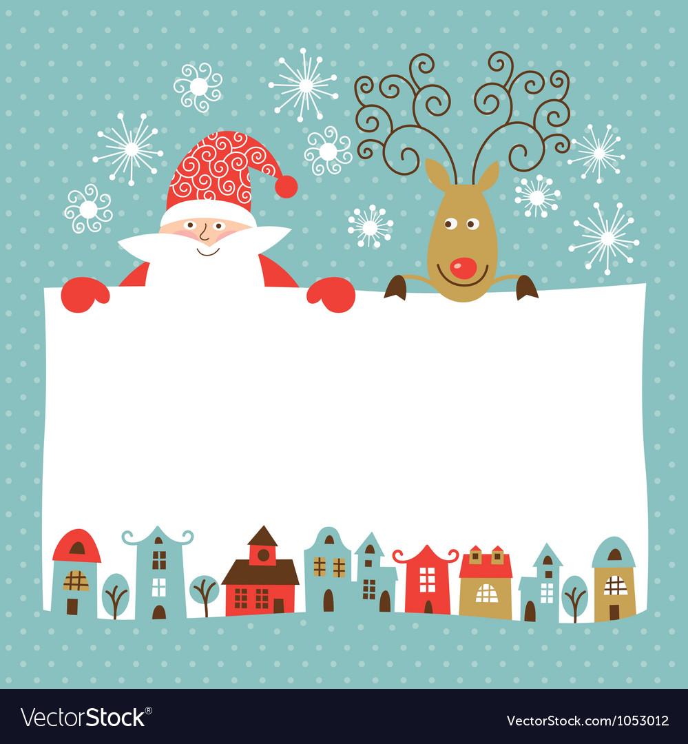 Funny deer and santa claus vector