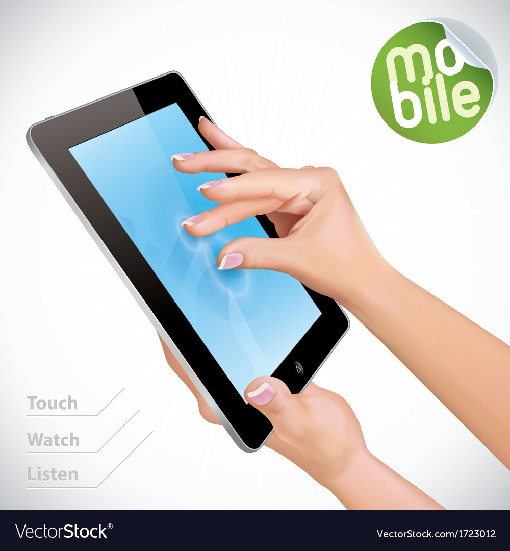 Hand holding tablet pad vector