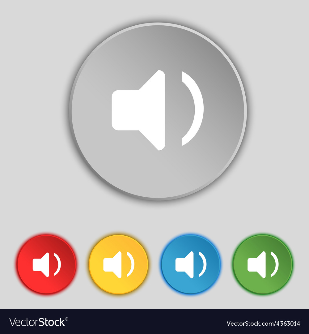 Speaker volume sound icon sign symbol on five flat vector