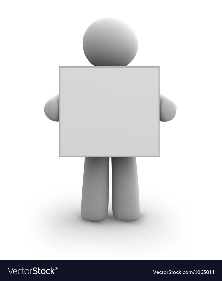 White human with blank board eps8 vector