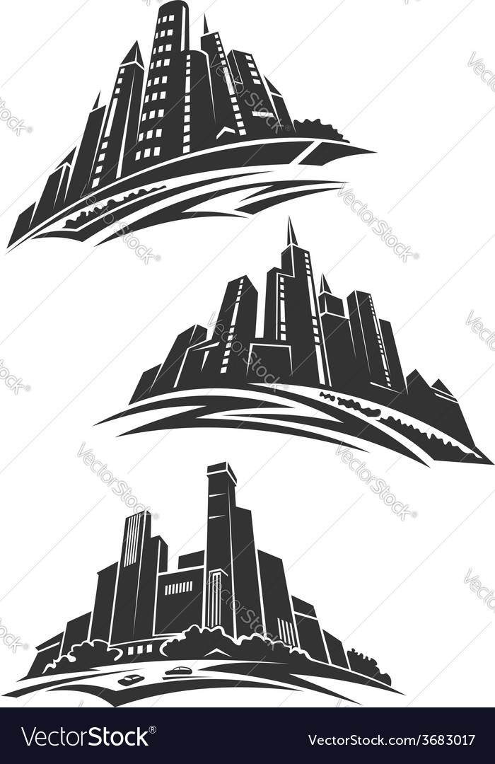 Downtown of modern city gray silhouettes vector