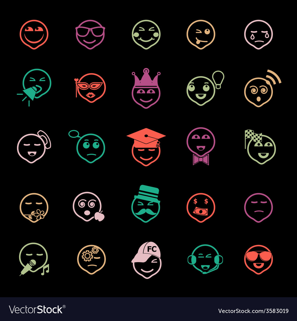 Face action line icons flat color vector