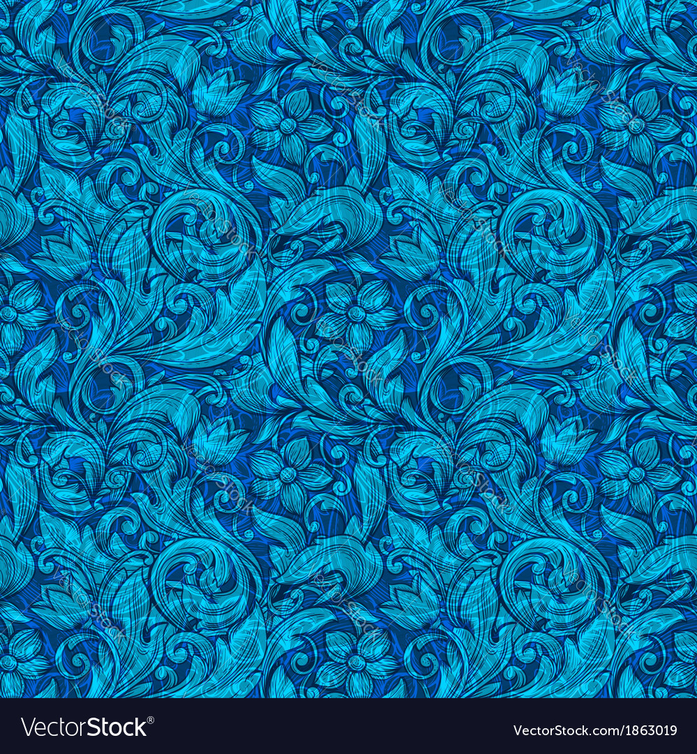 Floral blue ornamental seamless pattern vector