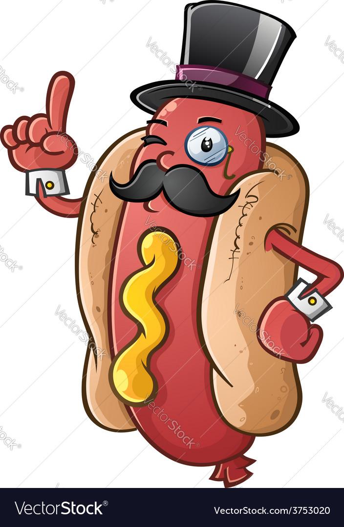 Hot dog gentleman cartoon character vector
